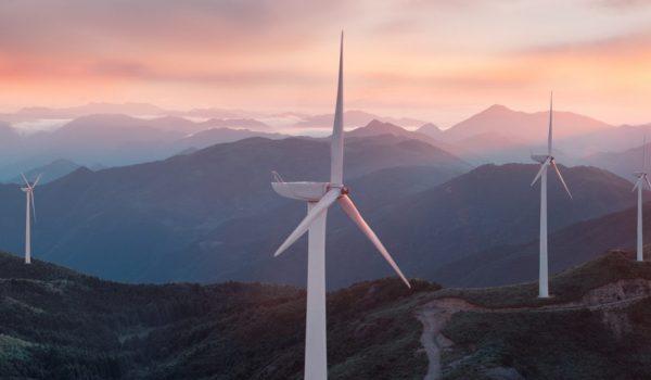 Renewable energy wind turbines on the mountain